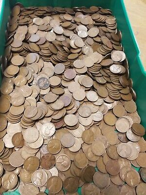 LOT OF 1000 WHEAT PENNIES (1909-1958) LINCOLN CENTS!  Unsearched!