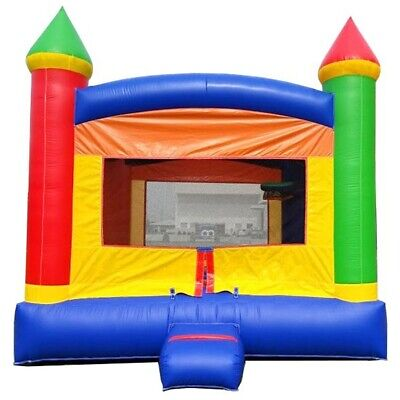 Kids Inflatable Rainbow Moonwalk Castle Party Backyard Bounce House With Blower