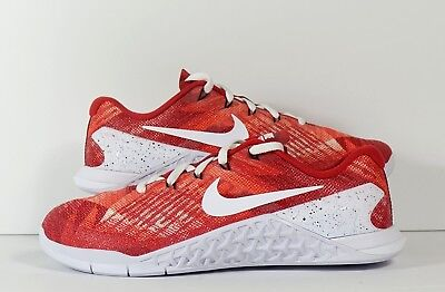the latest e845f bf6f2 Nike Metcon 3 ID Red White Premium Pattern Gym Crossfit Training Womens 8.5