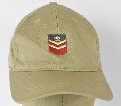 Beige Military Style Badge Rank Star Image Embroidered Baseball Hat Cap Fitted