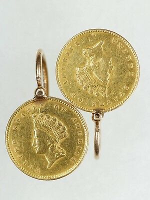 1854 & 1855 Indian Princess Gold $1 Coin Type 2 Earrings Vintage Jewelry (6689)