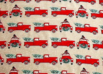 New*bty*christmas Red Truck With Tree In Back On Tan Flannel Fabric 1 Yd 42X36""
