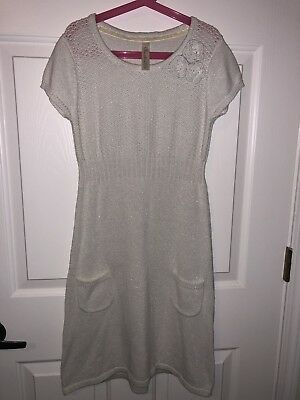 cc431e15f63 Cherokee Girls White Silver Glitter Cable Knit Sweater Dress Size L 10 12  EUC