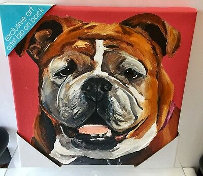 English Bulldog Oil On Canvas Painting