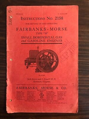 ORIGINAL 1911 Fairbanks Morse Hit Miss Engine Type H Catalog # 2158 5th Edition