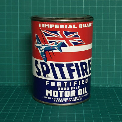 Vintage Replica Spitfire Motor Oil Tin Can Reproduction Tin Cans Display Props