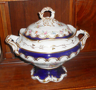 Antique 1830-1860 Hand Painted Porcelain Soup Tureen 13""