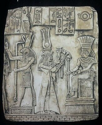 Ancient  Egyptian Ceremonial Horus Isis Wall Fragement Antique Finish
