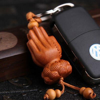 Buddha Kwan Yin Hand Wood 3D Carving Chinese Pendant Key Chain Keyring Craft Hi-