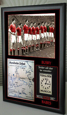 MAN UTD 1958 BUSBY BABES Framed A4 Canvas Tribute  Print  Signed