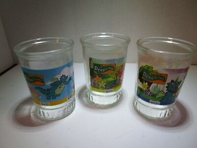 "Set of 3 Vintage WELCH'S Dragon Tales 4"" Jar Glasses #1, #3 & #5 Free Shipping"