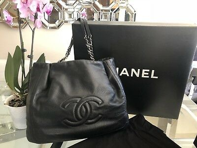 2eb4023b3d3b CHANEL Large Tote Grand Shopping Bag Black Everyday With Original Box 94305