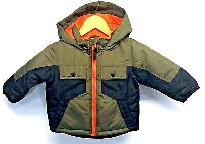 80eacdbdc WONDER KIDS BOYS Winter Hooded Coat Green/Black/Orange 18 Months ...