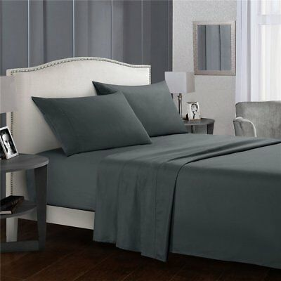 Top Microfiber  4 Piece Bed Fitted Flat Sheet Set with Pillowcases Bed Sheet AU