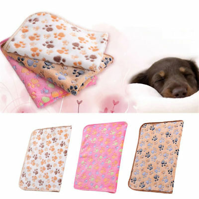 Warm Pet Mat Small Paw Print Cat Dog Puppy Coral Fleece Soft Blanket Bed Cushion