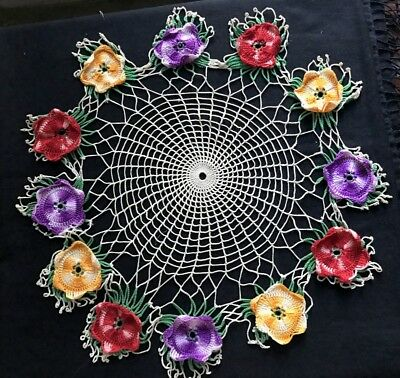 "Vintage Large Crochet Lace Round Net Doily with Colorful Daisies Trim 21"" Dia"