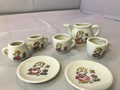 Vintage 7 Piece Mini Tea Set Little Girl Butterfly W Flower Made