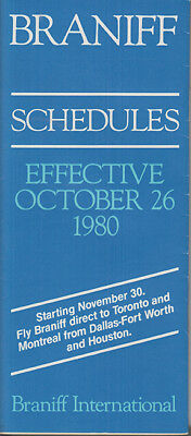 Braniff International timetable 1980/10/26