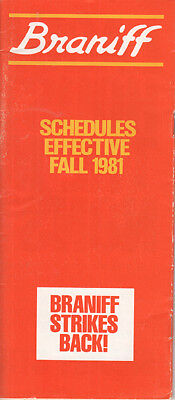 Braniff International timetable 1981/10/25