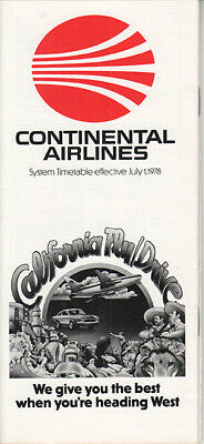 Continental Airlines timetable 1978/07/01