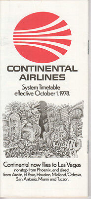 Continental Airlines timetable 1978/10/01