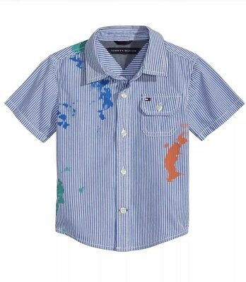New With Tag Tommy Hilfiger Baby Boys Splatter & Stripes Shirt