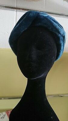 Vintage 1950s Turquoise Plush And Satin Hat
