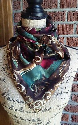 Vintage Square Silk Scarf Brown with Red Flowers and Scrolls