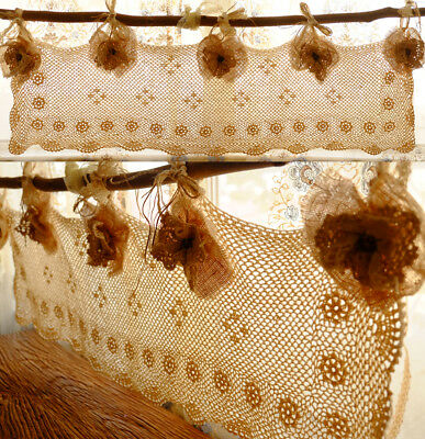 Shabby Rustic Chic Burlap kitchen window valance Antique style Lace Flowers Bows