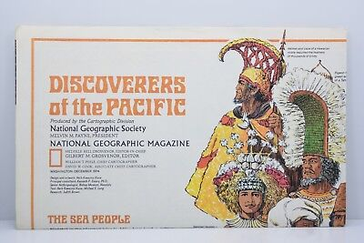Discoverers of the Pacific National Geographic 1974 Poster Vintage 1970's MAP
