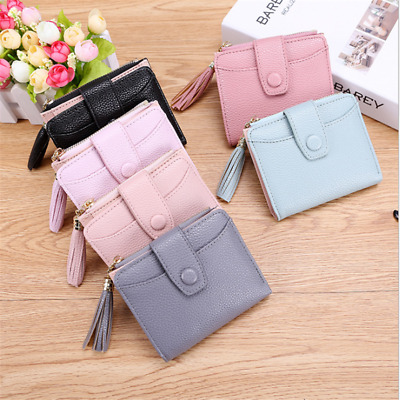 Portable Women Girl PU Leather Short Wallet Lady Coin Purse Card Holder Case B