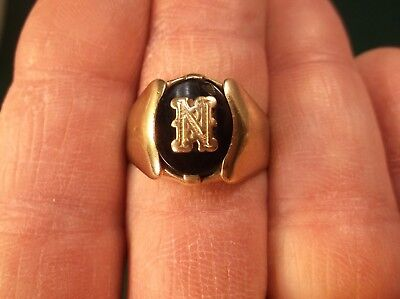 "Attractive Vtg Antique Art Deco 10K Gold & Black Onyx ""N"" Initial Signet Ring"