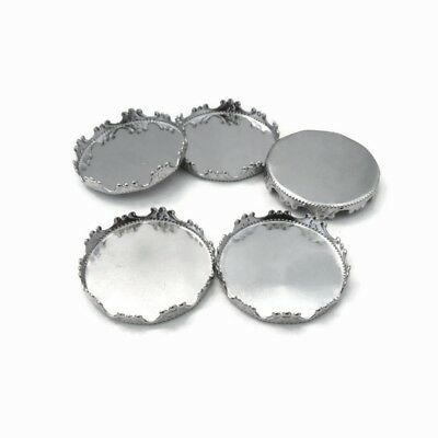 10 x Stainless Steel 25mm Round Cabochon Crown Tray Bezel Settings