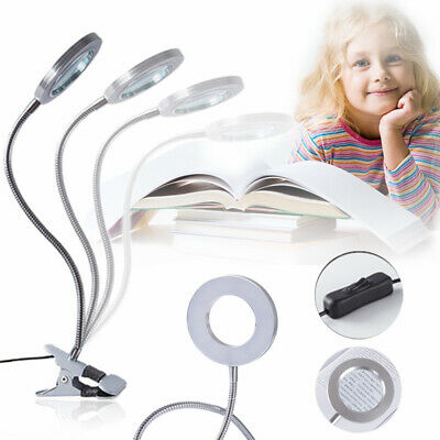 Flexible 8X Magnifying Glass Clip On Desk Lamp Glass Magnifier Bright LED Light