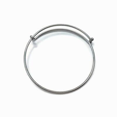 3 x Stainless Steel Plain Wire Bangle Bracelet Blanks w/ Ball Latch