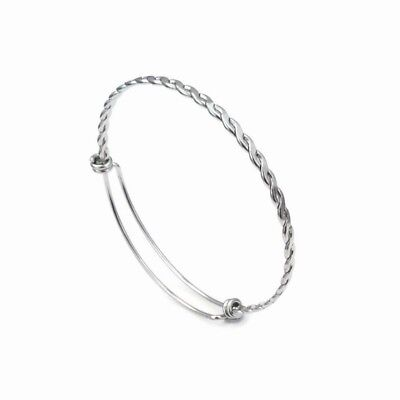 3 x Stainless Steel Twisted Braid Wire Expandable Bangle Bracelet Blanks
