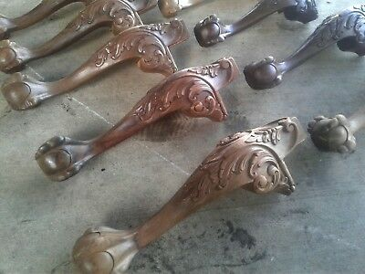 Salvaged Chippendale Style Claw and Ball Legs Carved Wood 10 pcs total