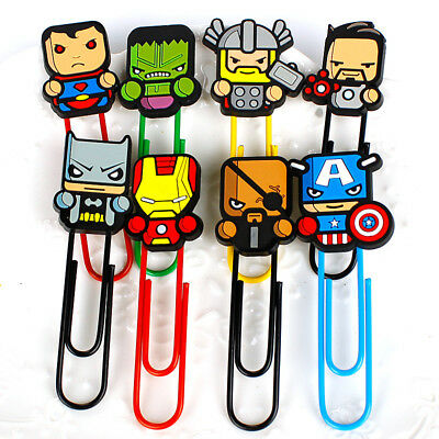 Marvel / DC Cartoon Cute Paperclip Bookmark Thor Batman Superman Hulk Avengers