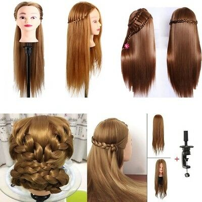 100% Real Human Hair Practice Hairdressing Training Head Mannequin Doll Clamp