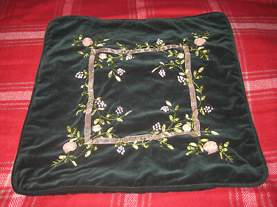 Embroidered Cushion Cover Green Vintage Retro Case Flowers Pillow FLORAL Pattern