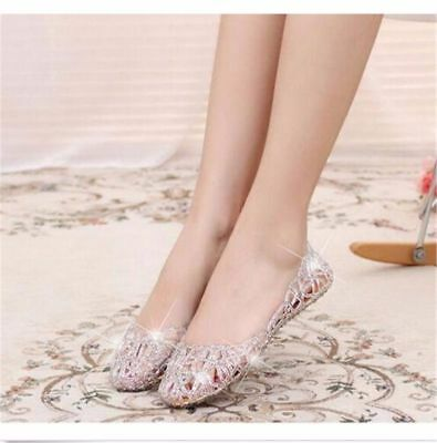 Girl Women Summer Ventilate Crystal Shoes Jelly Hollow Glitter Sandals Flat Shoe