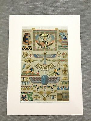 Ancient Egyptian Beetle Wall Painting Art RACINET Antique Chromolithograph Print