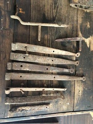 Merveilleux Vintage Barn Door Lot Old Gate Rustic 6 Straps + More Hardware Rusty Patina.
