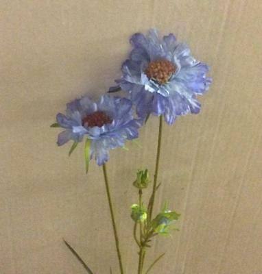 Scabiosa Spray Silk Flowers Light Blue Country Flowers Pack 6 Stems