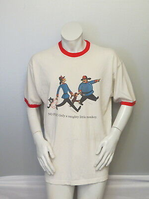 Vintage Curious George Shirt  - George and the Firemen Grpahic - Men's XL
