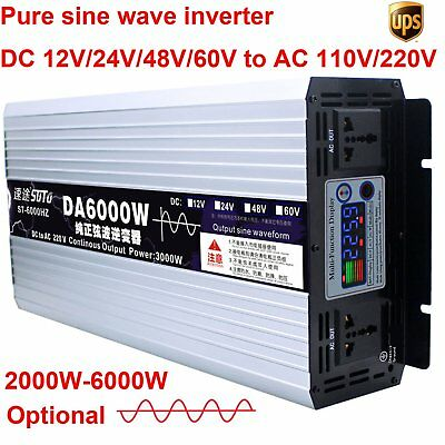 Intelligent Pure Sine Wave Inverter DC 12V24V48V to AC 110V/220V 2000W-6000W Max