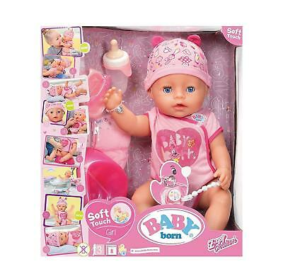 """Baby Born Interactive Soft Touch Girl 17"""" Large Doll - Blue Eyes Zapf Creation"""