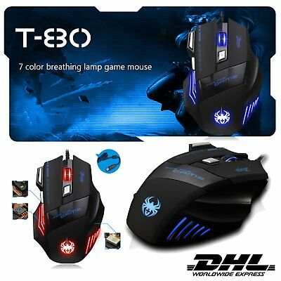ZELOTES T-80 7200DPI Profi Maus USB Optical 7 Buttons Gaming Mouse TOP