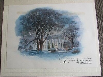 President Lyndon B. Johnson 1966 White House Christmas Gift Print