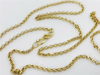 "14K 20"" Inches 1.9mm Yellow Gold Classic Round Rolo Necklace Pendant Chain 14kt"